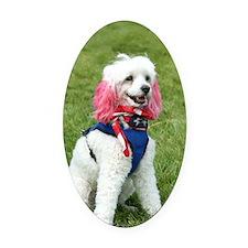 patriotic poodle Oval Car Magnet