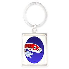 Red Koinobori Oval Ornament Portrait Keychain