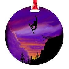 Snowboarder off cliff tp Ornament