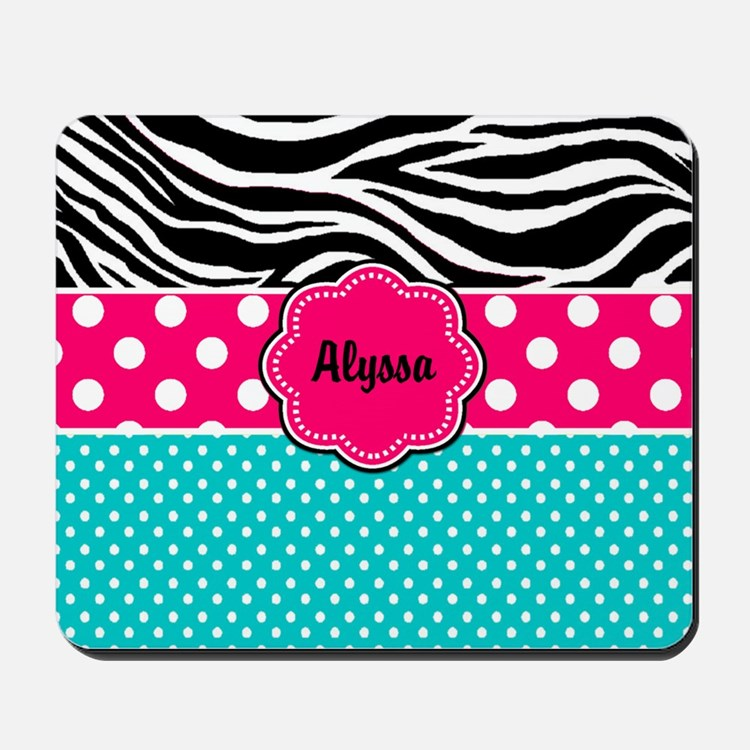 Pink Blue Zebra Personalized Mousepad