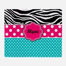 Pink Blue Zebra Personalized Throw Blanket