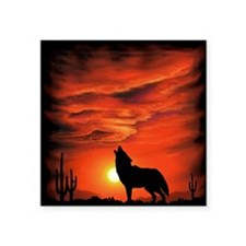 "Coyote Howling tp Square Sticker 3"" x 3"""