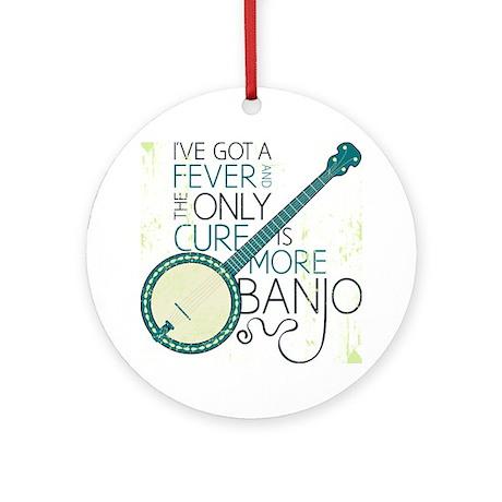 Banjo_White Round Ornament