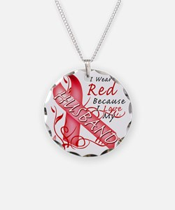 I Wear Red Because I Love My Necklace Circle Charm