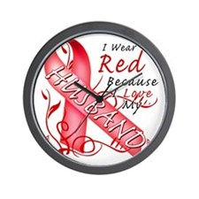 I Wear Red Because I Love My Husband Wall Clock
