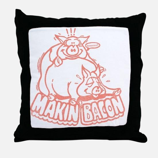makinbaconpinktran Throw Pillow
