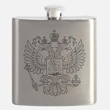 royal russian eagle crest symbol white Flask