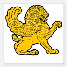 "arab persian lion gold s Square Car Magnet 3"" x 3"""