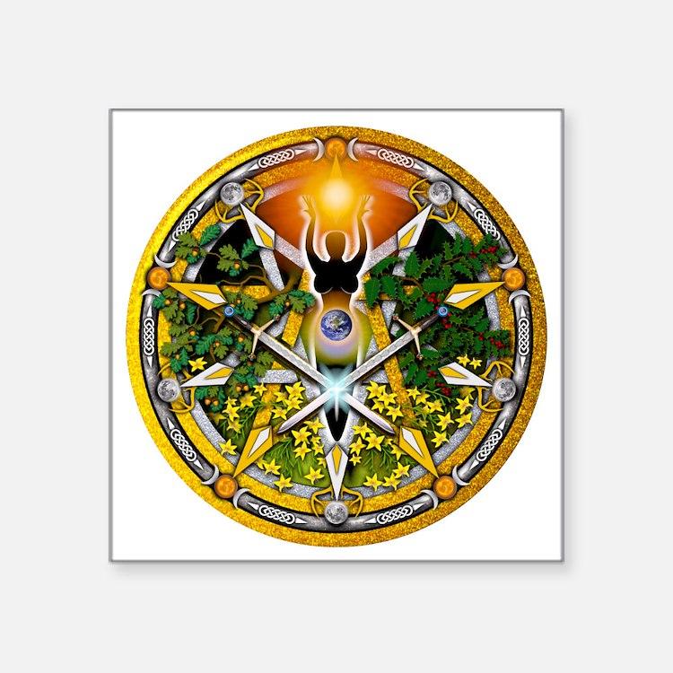 "Sabbat Pentacles - Litha Square Sticker 3"" x 3"""