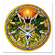 "Sabbat Pentacles - Litha Square Car Magnet 3"" x 3"""