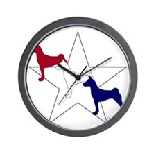 Patriotic Basenji Wall Clock