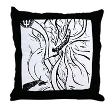 WATERMANSPEARFISHDblack Throw Pillow