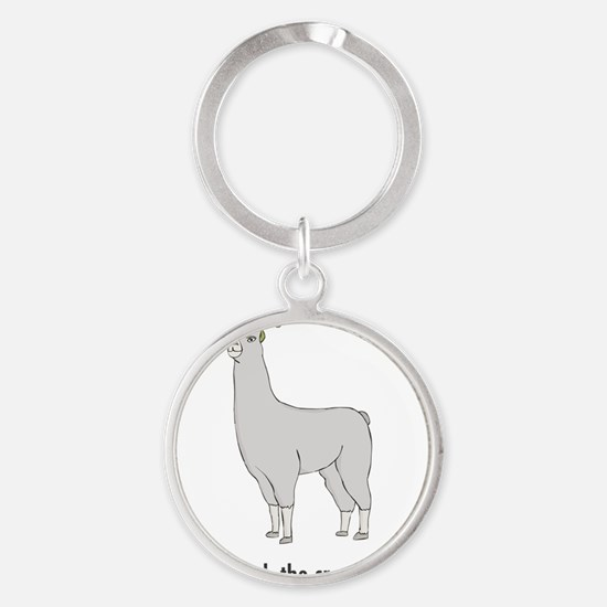 Llamas-D7-WaterBottle Round Keychain