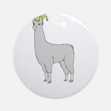 Llamas-D7-BlackApparel Round Ornament