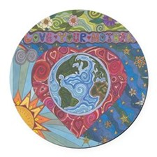 Love Your Mother Round Car Magnet