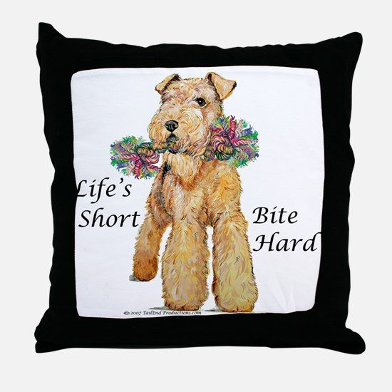 Bite Hard Lakeland Terrier Throw Pillow