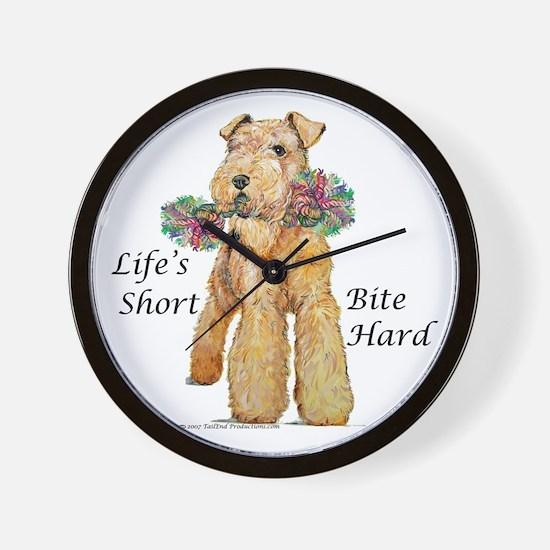 Bite Hard Lakeland Terrier Wall Clock