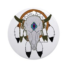 buffalo skull dreamcatcher Round Ornament