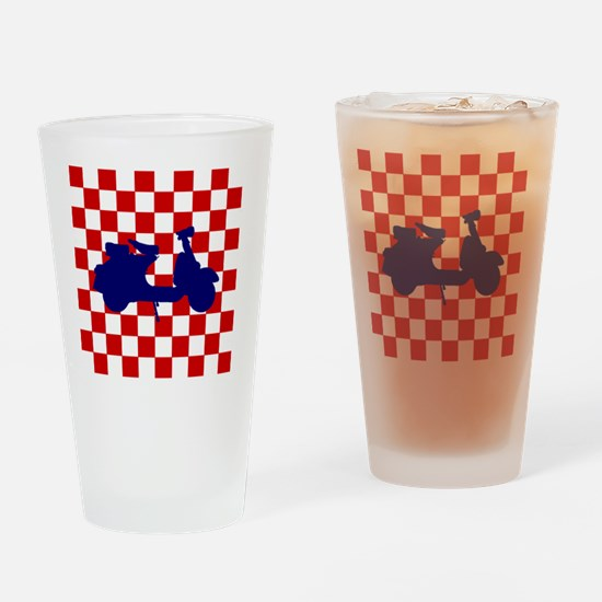 Mod Scooter Blue Drinking Glass