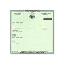 """BO_Birth_Certificate Square Sticker 3"""" x 3"""""""