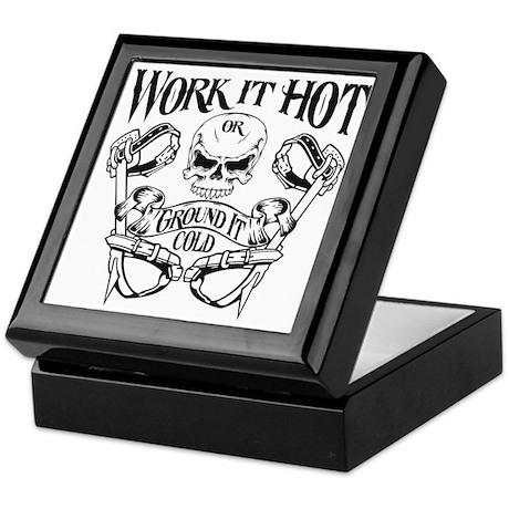 work it hot Lineman logo 1 Keepsake Box