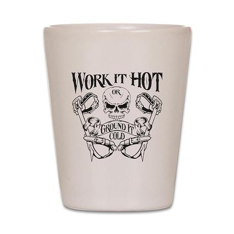 work it hot Lineman logo 1 Shot Glass