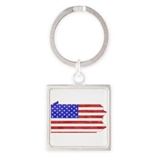 Pennsylvania Flag Square Keychain