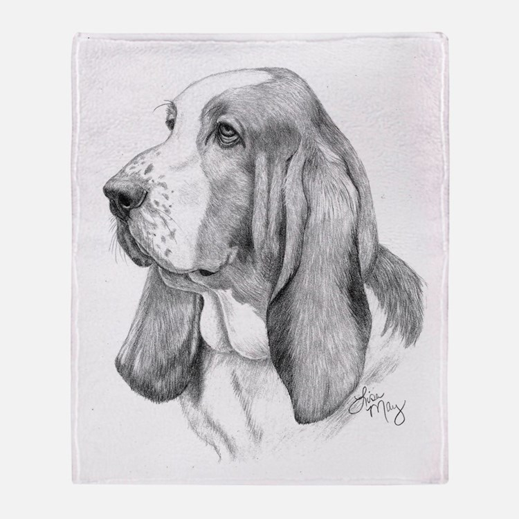 Basset Hound 001 Throw Blanket