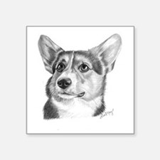 "Corgi Square Sticker 3"" x 3"""