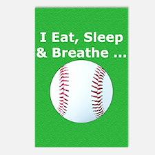 Baseball Eat Sleep Breath Postcards (Package of 8)