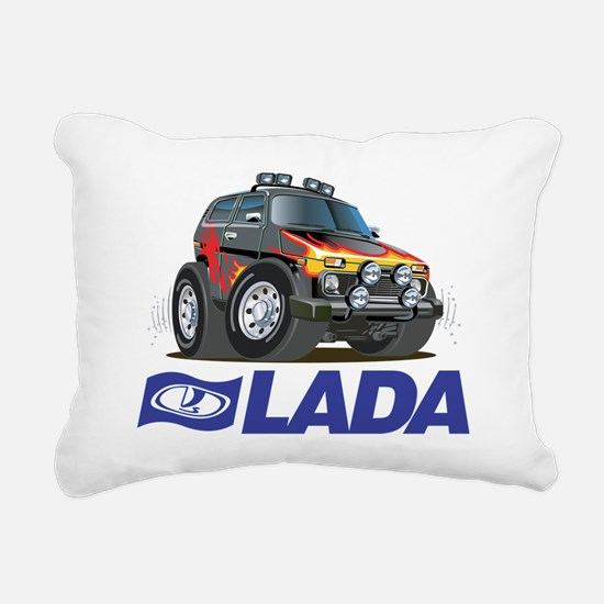 Funny Lada Niva plus log Rectangular Canvas Pillow