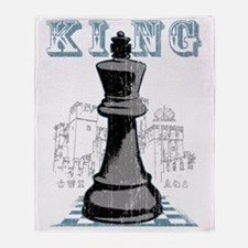 RB chess shirt king blk Throw Blanket