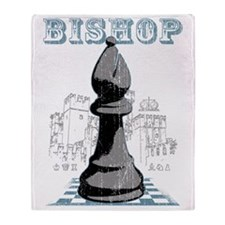 RB chess shirt bishop blk Throw Blanket
