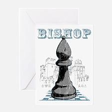 RB chess shirt bishop blk Greeting Card