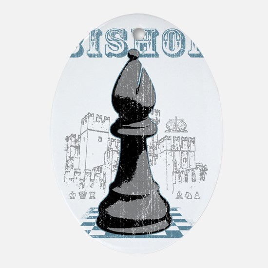 RB chess shirt bishop blk Oval Ornament