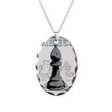 RB chess shirt bishop blk Necklace