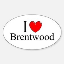 """""""I Love Brentwood"""" Oval Decal"""