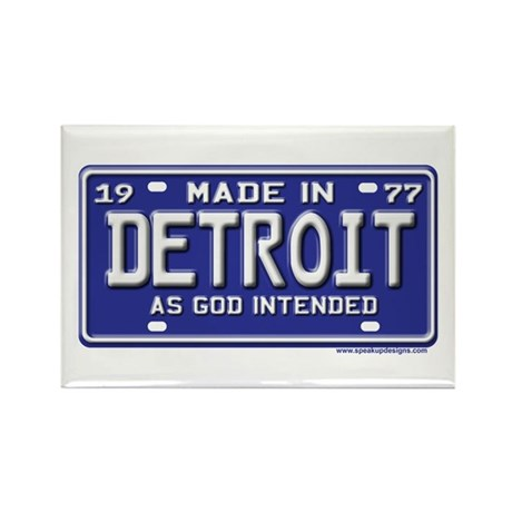 Made in Detroit 1977 License Rectangle Magnet (10