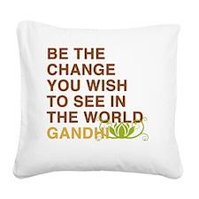 gandhi_flower Square Canvas Pillow