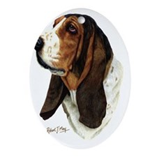 Basset Head 1 Oval Ornament