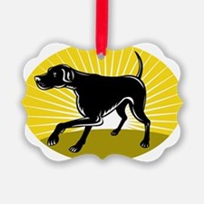 Pointer hunting dog retro style Ornament