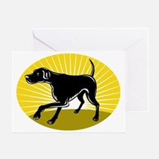 Pointer hunting dog retro style Greeting Card