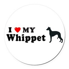 Unique I heart my whippet Round Car Magnet