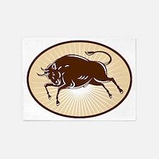 Texas Longhorn Bull attacking 5'x7'Area Rug