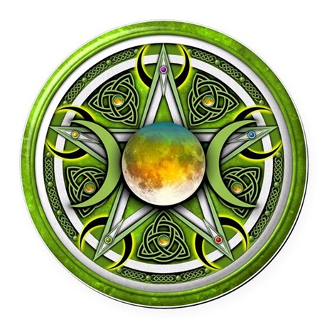 Green Triple Goddess Pentacle Round Car Magnet