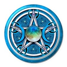 Blue Triple Goddess Pentacle Round Car Magnet