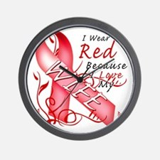 I Wear Red Because I Love My Wife Wall Clock