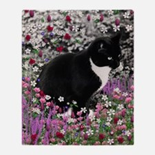 Freckles Tux Cat Flowers II Throw Blanket