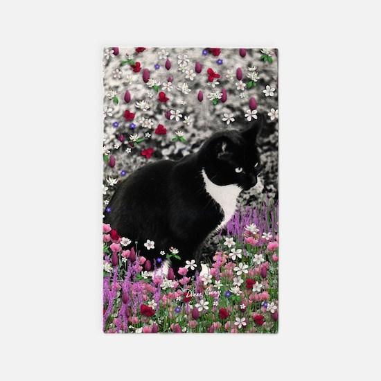 Freckles Tux Cat Flowers II 3'x5' Area Rug
