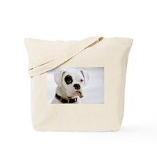 White Boxer With Black Eye Tote Bag